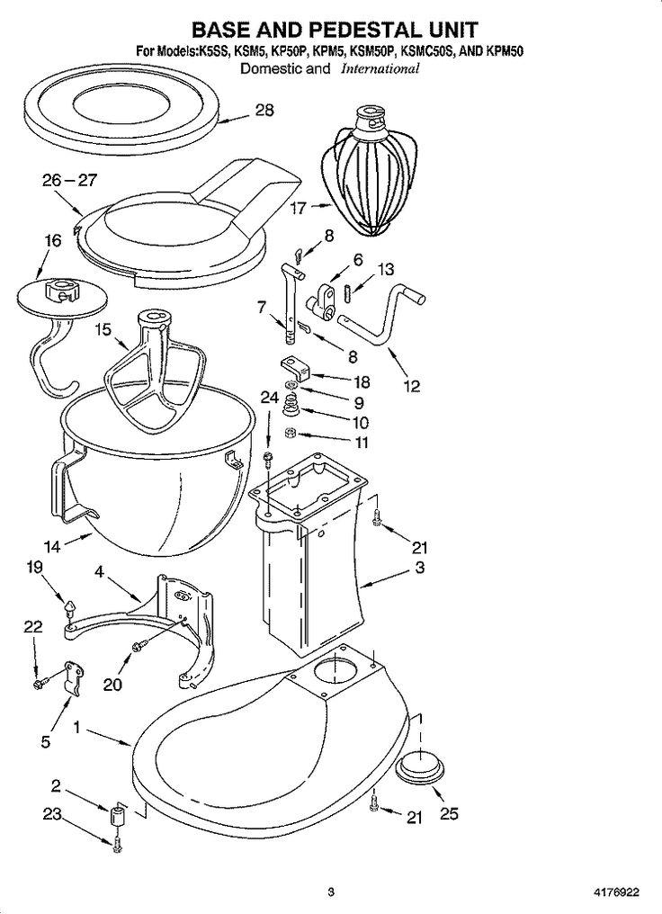 Whirlpool mixer ksm5 parts list kitchen aid