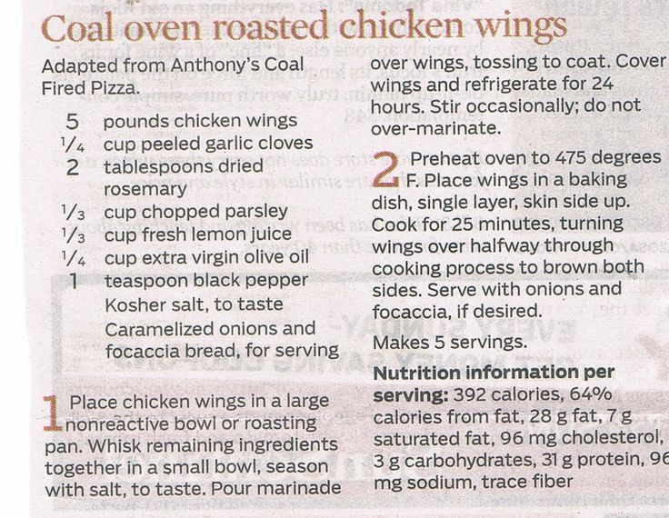 Coal Oven Roasted Chicken Wings - Sun Sentinel 4-6-14, Adapted from Anthony's Coal Fired Pizza recipe.