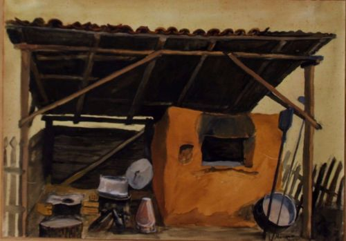 Greek-Traditional-Outdoor-Cooking-Place-acrylic-painting
