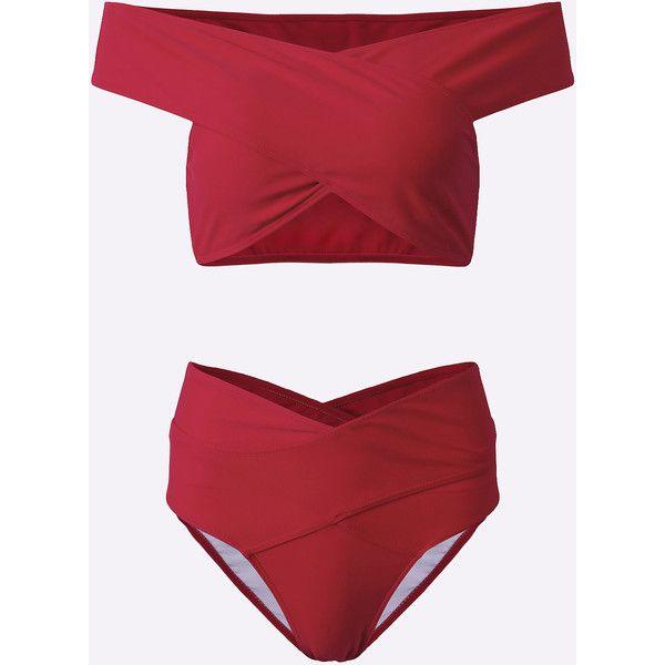 Yoins Red Fashion Off Shoulder Cross Front Design Bikini Set ($20) ❤ liked on Polyvore featuring swimwear, bikinis, red, high-waisted swimwear, swimming bikini, sexy swim wear, red bikini and swim wear