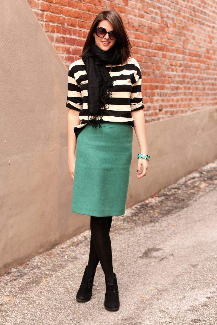 15 Best images about What to Wear with Dark Green Skirt on Pinterest | Green skirts Belt and ...