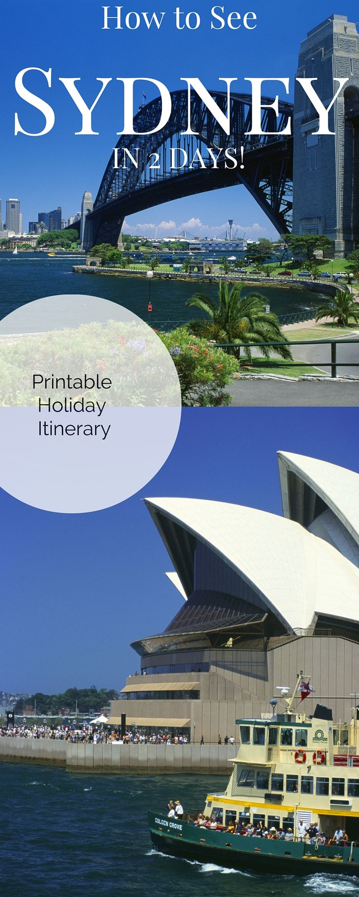 14 Sydney Tourist Attractions and Famous Icons in just 2 DAY! Printable itinerary for a jam packed Sydney Getaway.