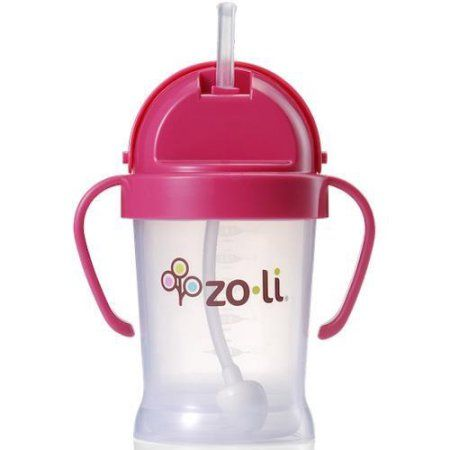 Zoli Baby BOT Straw Sippy Cup 6 oz - Pink