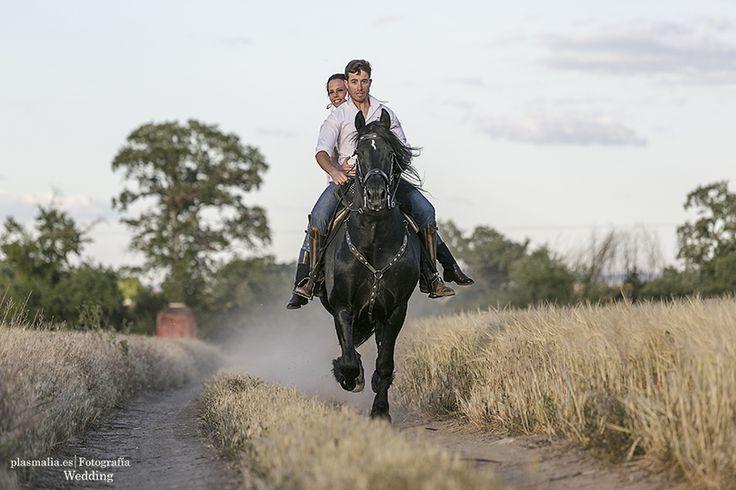 Novios encima de su caballo a galope.