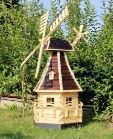 Holzdekoladen XXL Gartenwindmühle aus Holz mit Solarbeleuchtung braun/natur Typ 15.1 | holzdekoladen