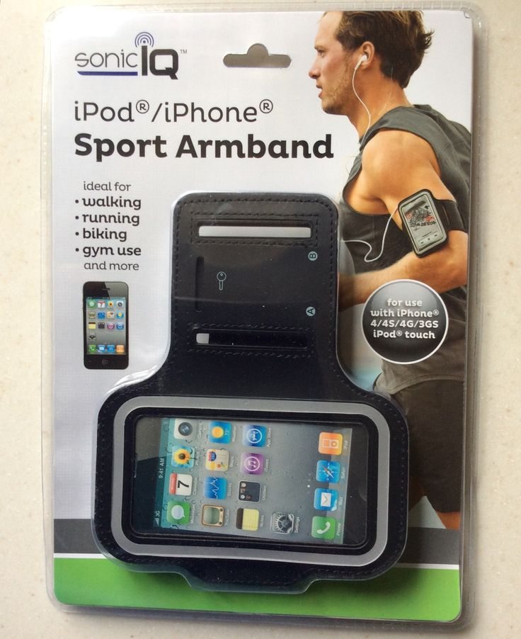 Sonic IQ Sport Armband Sportband for iPad Touch, iPhone 4, 4S, 4G, 3GS (Black) running, gym, workouts, fitness, cycling, outside activities, or gym. Sonic IQ Durable Lightweight Sport Armband. ideal for walking, running, biking, gym use, and more. for use with iPhone 4, 4S, 4G, 3GS, and iPod Touch. armband fits arm circumference 10-15 inches in size. Built-in Secure Key Pocket.