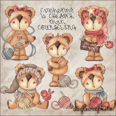 Crochet Bears 1 Clip Art Set