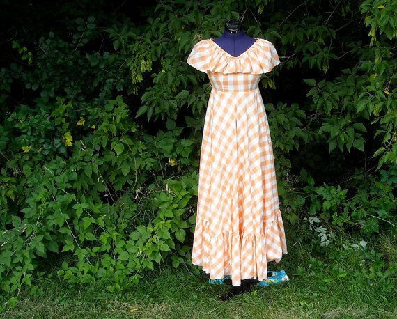 Vintage Gingham Dress 1970s Peach Plaid Country By