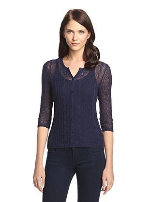 50% OFF Kier & J Women's Cable Button-Front Cardigan (Navy)
