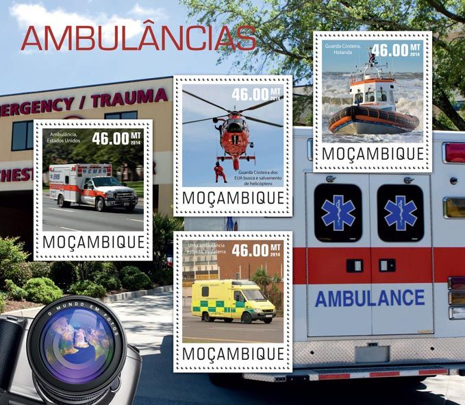 Post stamp Mozambique MOZ 14426 aAmbulances (Ambulance, USA, {…}, Coast guard, Netherlands)