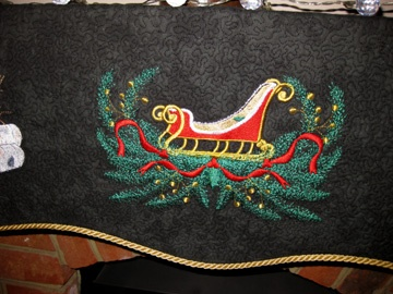 Detail from fireplace cover Brenda made for her friend