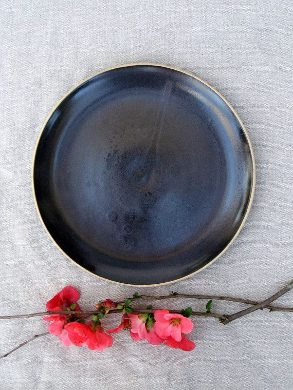Black ceramic dinner plates. Ideal for lunch or dinner! Rustic Earthy style that will add warmth to every dining table. This side plate diameter is 8.5 (21cm) and its the most practical size for everyday use. It can be used to heat the food in the oven or micro and it will fit easily in your dishwasher!  🍽 This listing is for 1 plate  A Special price for a set of plates  A complete dinnerware set in black can be ordered  ✔ I fire all my work to a high temperature (1220c/2228f) it produc...
