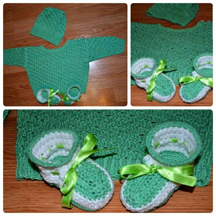 Baby set. Knitt hat and sweater, crochet booties.