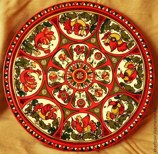 """Декоративная тарелка """"Птицы"""" – купить или заказать в интернет-магазине на Ярмарке Мастеров   Декоративная тарелочка расписана в стиле Северной…"""