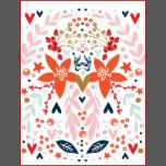 Floral Christmas Pretty Holiday Stamp Postage with Red, white, Mint pink and pastel colors, bright and happy. stars hearts and berries.