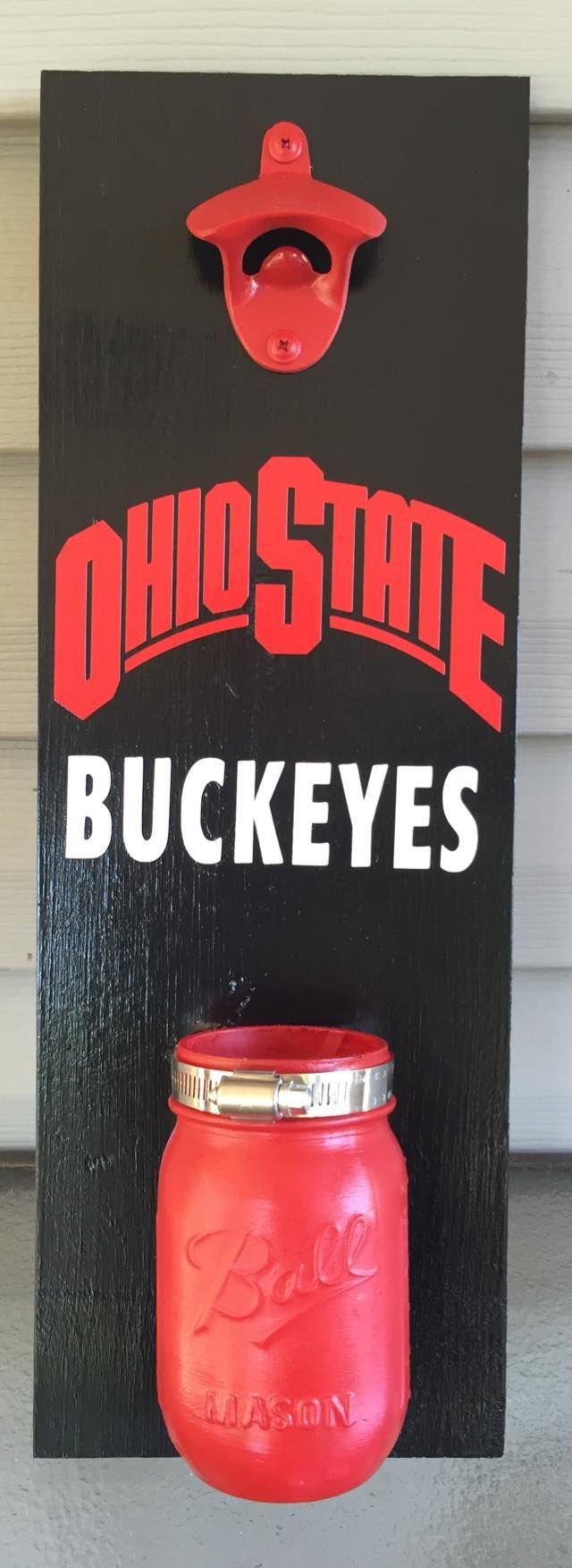 Ohio State Buckeyes wall mounted bottle opener. Has mason jar cap catcher. #gobucks #ohiostate #wallmountbottleopener #wallbottleopener #bottleopener #beer #beerme #bottles #buckeyes #masonjar #masonjars #bar #handmade #toledopalletco
