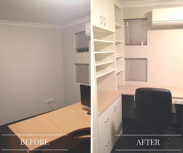** BEFORE & AFTER ** Gorgeous Home Office Installed earlier this year. Cabinets in Formica Warm White and Doe Skin, Features DVD drawer storage, Off Desk Shelving for books , & a corner desk with a waterfall end. Let us know your thoughts!