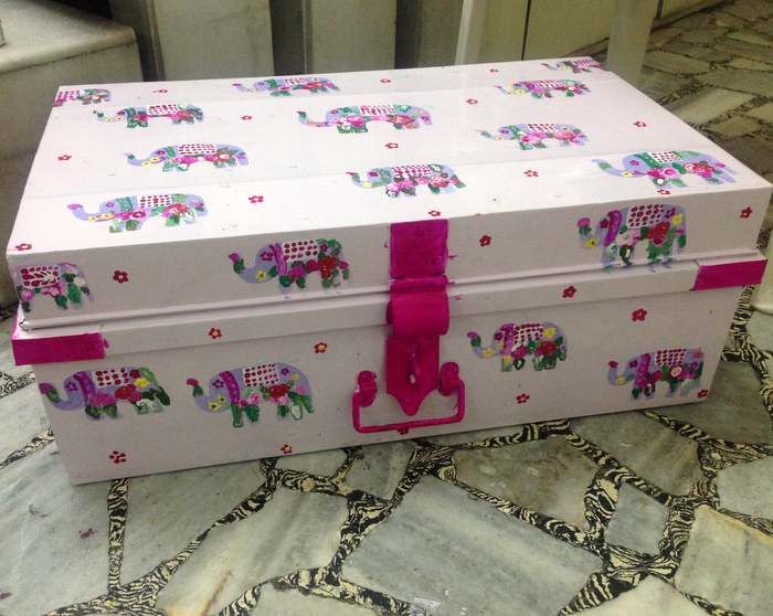 Trousseau Packing - Light pink with hot pink Elephant print Trunk for trousseau packing | WedMeGood #wedmegood #trousseau #packing
