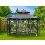 Sunjoy Younge Round Gazebo with Faux Copper Top | Canadian Tire $3,499.999