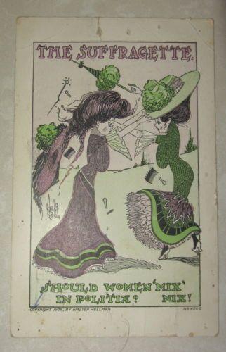 1909 Suffragette Walter Wellman Postcard Mix Nix!