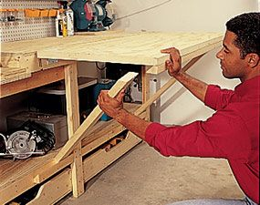 flip-up assembly bench - this'll definitely come in handy in the new shed.