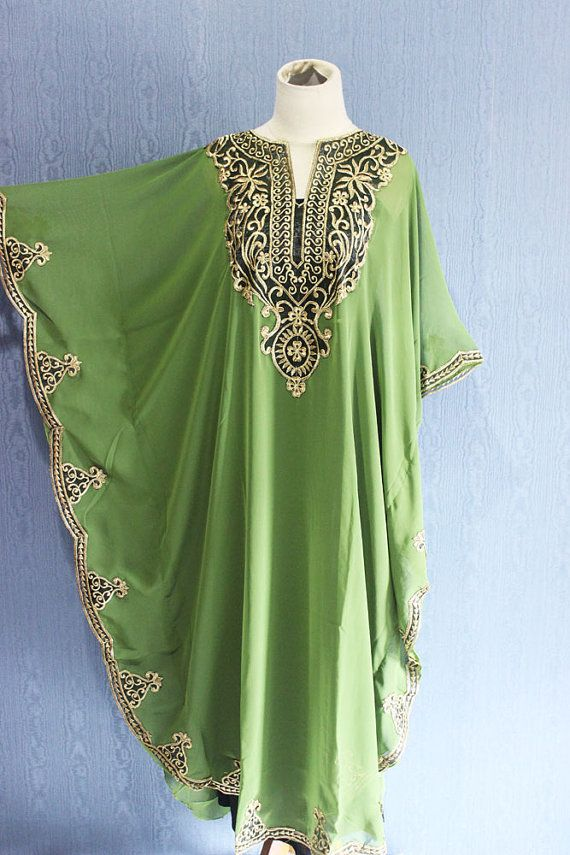 Very Fancy Sheer Chiffon Kaftan Moroccan with Gold Embroidery detailed. ✿ The fabric is made of Shiffon Ceruty Top Quality ✿ The Caftan is sheer chiffon
