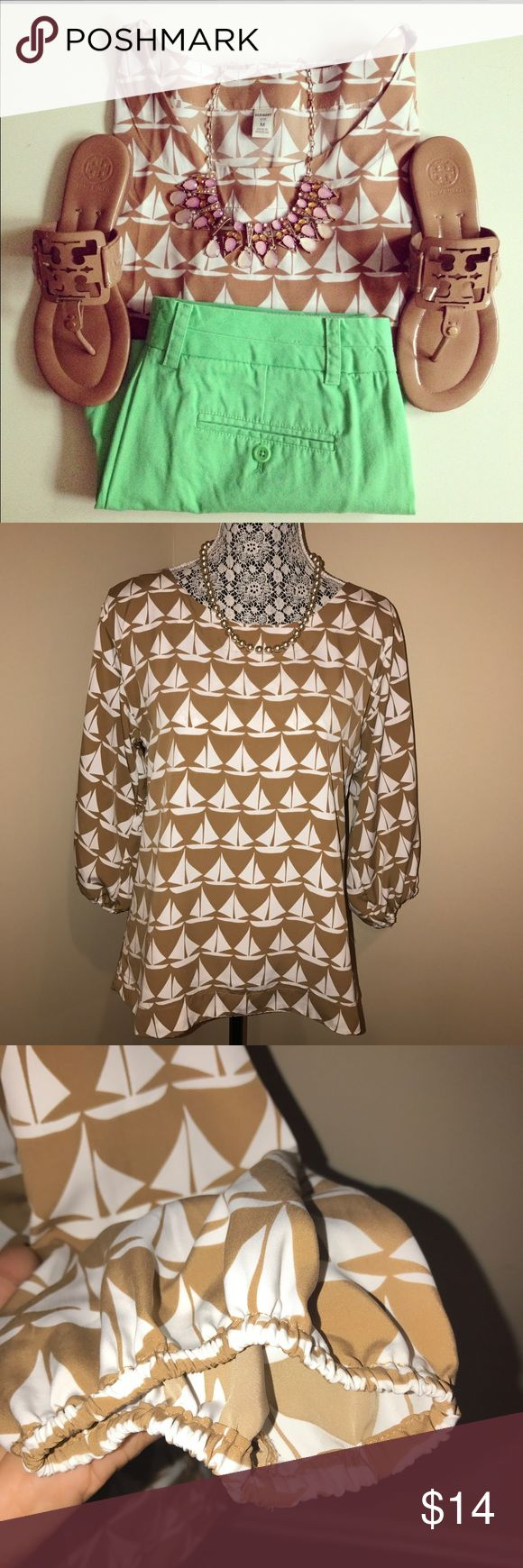 """Sailboat Print Blouse Tan/White Small Great used condition Old Navy 3/4 sleeved blouse Sailboat Print boatneck blouse tan/white 19"""" bust, 25"""" length measurements taken while laying flat.  100% polyester  First pic is stock photo, all others are actual blouse for sale.  Feel free to ask any questions.  Thanks for looking! Old Navy Tops Blouses"""