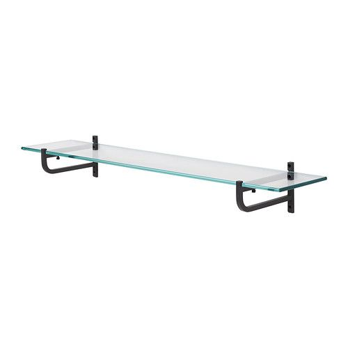 HJÄLMAREN Glass shelf IKEA Shelves of tempered glass; has higher impact resistance and load-bearing capacity than ordinary glass.  $17.99