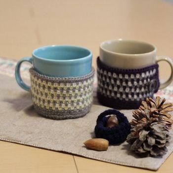寒い冬に飲みたい暖かなドリンクにピッタリのマグカバー。お家のマグやコーヒーショップのカップに合わせてたくさん作りたいですね!