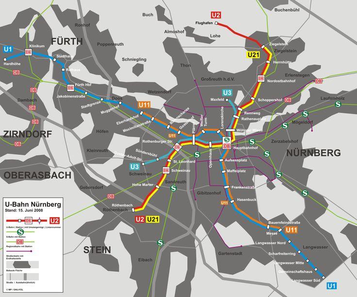 U-Bahn : Nürnberg U-Bahn-Karte , Deutschland Von VAG Nürnberg (Nürnberger Verkehrsbetriebe) und als Teil des öffentlichen Verkehrs betrieben ist Nürnberg ein U-Bahn-System (S-Bahn U-Bahn) von 3 Linien und 46 Stationen von 3 S-Bahnlinien (S-Bahn) und Straßenbahnen fertig zusammengesetzt . Nur durch die U-Bahn reisen mehr als 315.000 Fahrgäste pro Tag, rund 112 Millionen Passagiere pro Jahr. Sie wurde im März 1972 mit dem Abschnitt zwischen Langwasser Süd Station Bauernfeindstraße eröffnet.