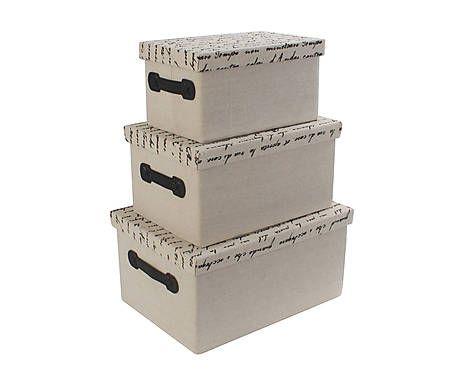 Set di 3 scatole in tessuto e betulla Evenescence grigio - max 40x20x30 cm