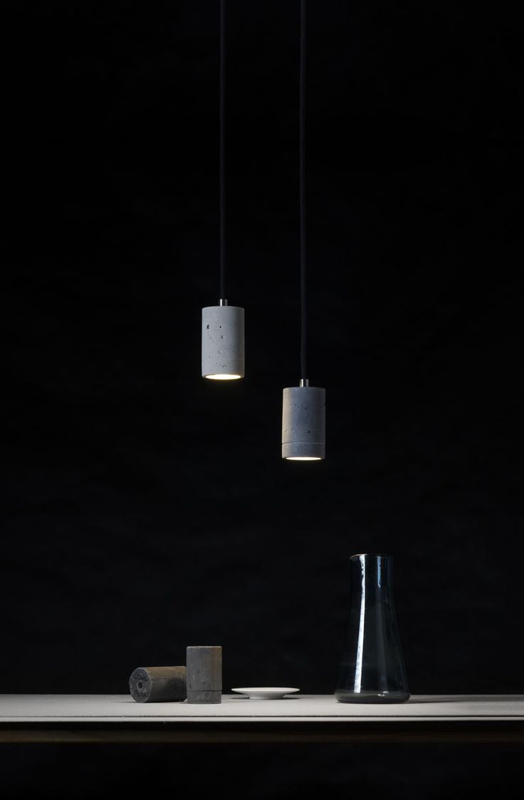 Kalla 11 LED concrete lamps - natural + grey colours of concrete - hand made in Poland #concrete #lighting #design #interior