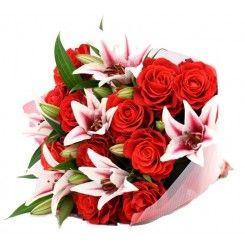 Bouquet de Rosas y Lirios a Colombia. 12 de Mayo del 2013, Día de la Madre en Colombia, Regalos día de la madre en Colombia, Flores día de las madres en Colombia, Enviar flores día de la madre en Colombia, Envío de regalos día de la madre en Colombia, Flo