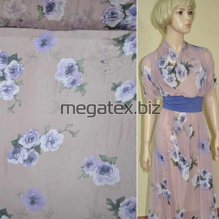Креп шифон розово серый с фиолетовыми цветами ш.150 купить в интернет магазине тканей в розницу и оптом в Украине.