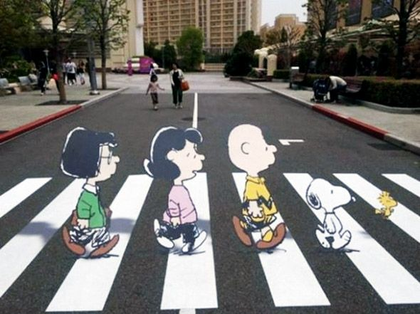Abbey Road Meets Charlie Brown | Mighty Optical Illusions