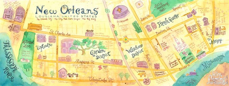 Map of New Orleans created for They Draw and Travel