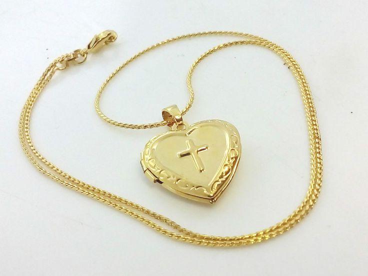 Collana Ciondolo Oro Cuore Con Croce Donna Portafoto Crocifisso Gioielli Donna