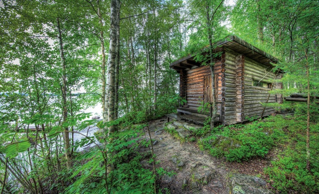 A modern master's sauna Famed Finnish architect Alvar Aalto's 1954 savusauna is traditional in form, with subtle modernist touches: the logs are tapered to create the gently pitched roof, and the footprint isn't square, but trapezoidal.