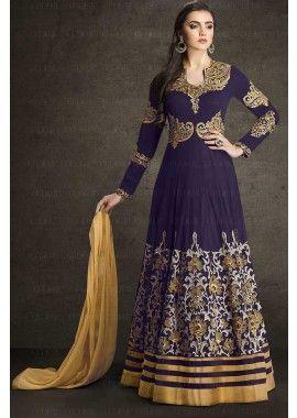 couleur bleue georgette faux costume Anarkali, - 119,00 € #Tenuepakistanaise #Tenuebollywood #Robeindien #Shopkund