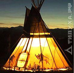 Шалаш конусной или пирамидальной формы, основа которого – тонкие стволы деревьев. Покрыт корой вяза или березы, а иногда тростником.