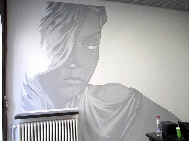 Goddess wall painting at a friend's hairdresser salon.