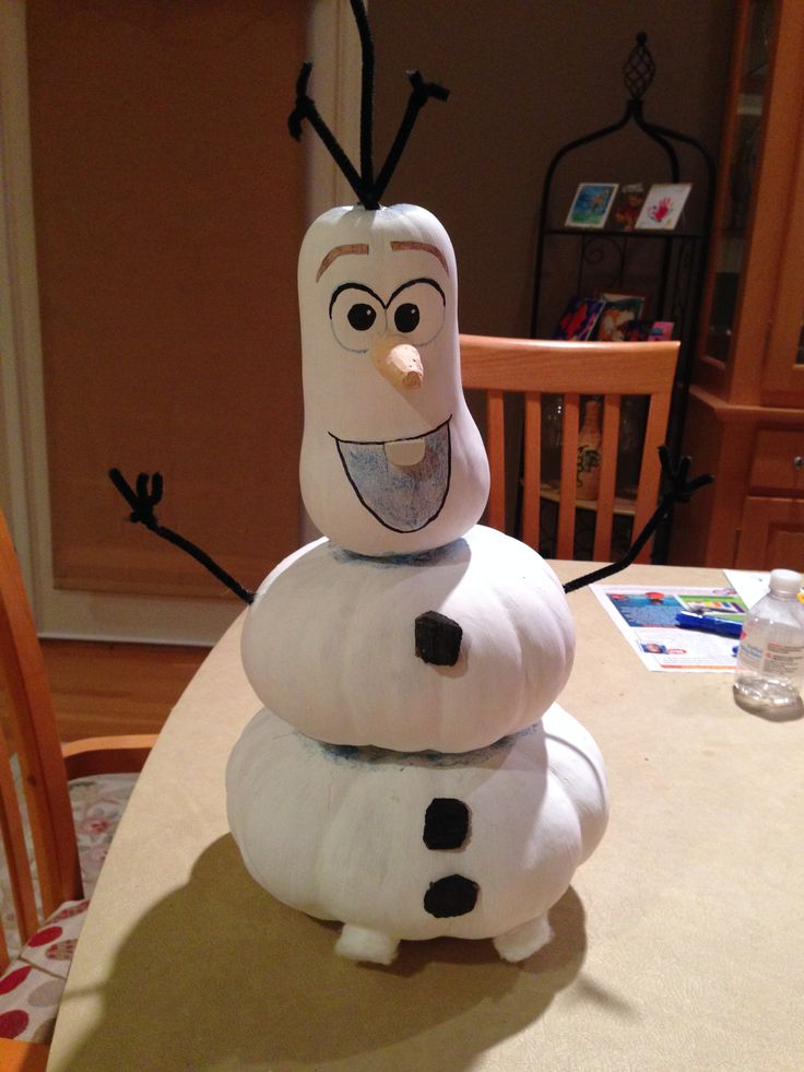 Olaf - made out of one butternut squash and two fantasy pumpkins, pipe cleaners, chalk for the nose and bark chips for the buttons