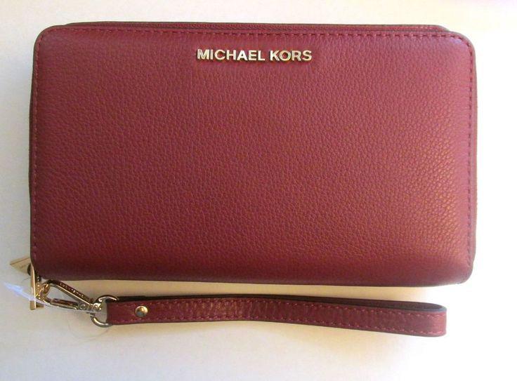MICHAEL KORS Jet Set Large FLAT PHONE CASE WALLET Wristlet BRICK Red Leather NWT #MichaelKors #WristletDetachable