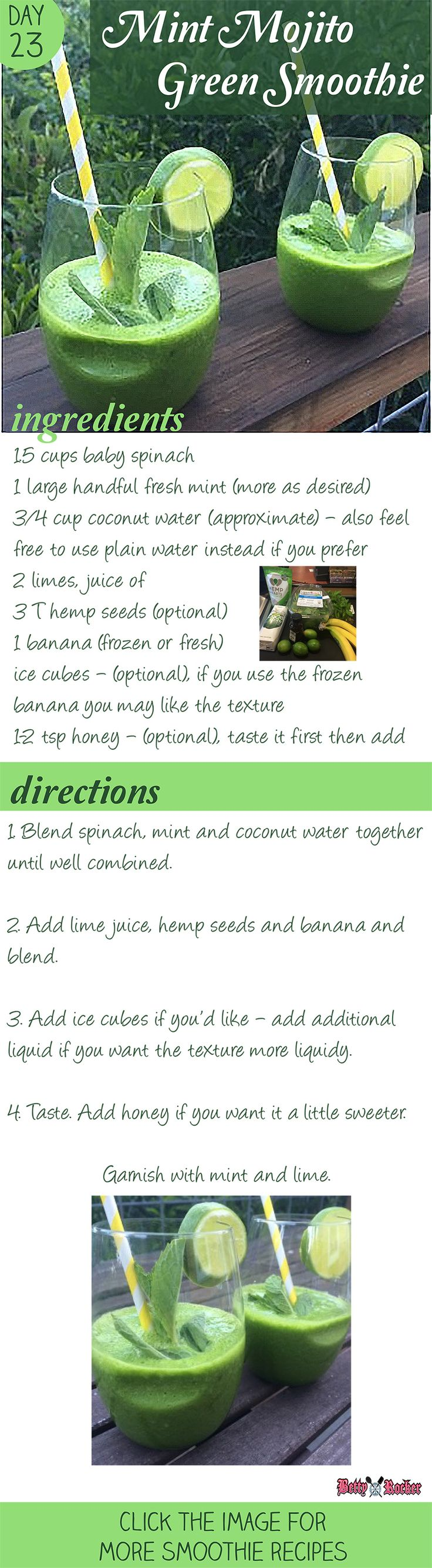 Recipe for Mint Mojito Green Smoothie on thebettyrocker.com
