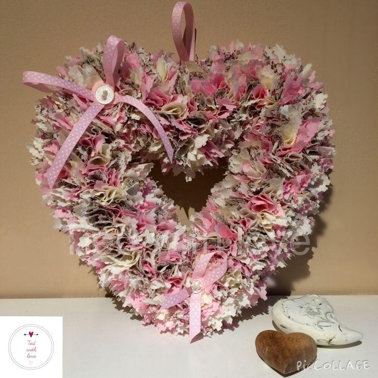 Pink cream material wreath. Www.facebook.com/tiedwithlovewreaths #htlmp #handmadeuk @htlmp
