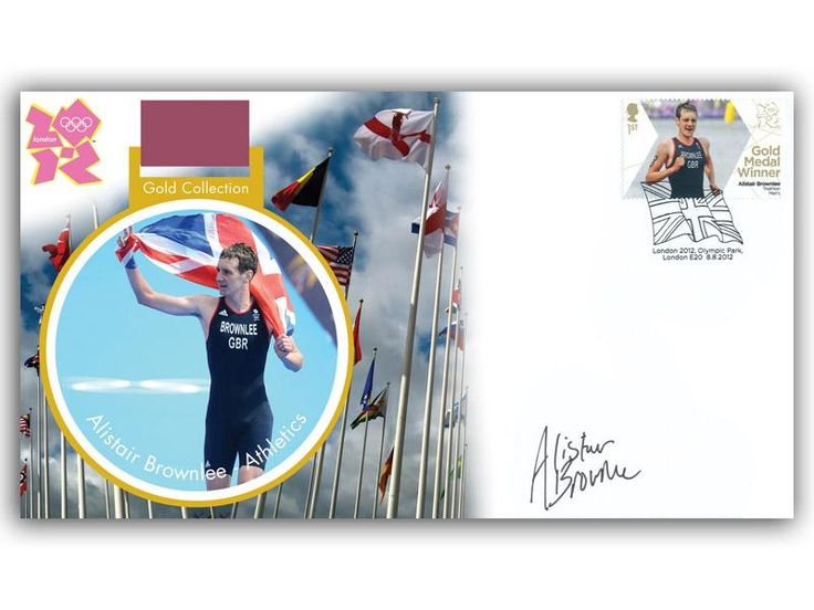 London 2012 Olympic Gold Medal Winners cover. Personally Autographed by Alistair Brownlee. Triathlon