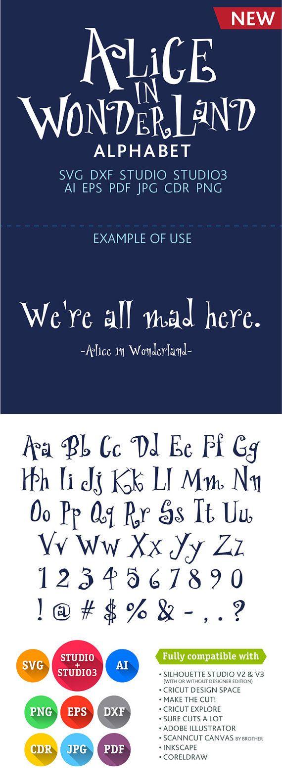 Alice in Wonderland Font Cuttable Alphabet SVG DXF EPS Studio Studio3 Png Pdf Jpg Ai Cdr alphabet files for Silhouette Studio, Cricut, Cameo
