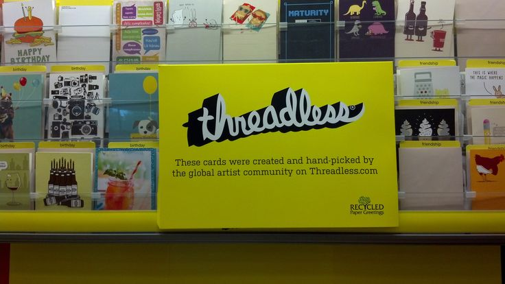 Threadless was one of the original digital crowdsourcing sites, making t-shirts based on user-submitted and selected designs and selling them online. It struck me as funny to see they're now publishing paper cards and distributing them in bricks & mortar stores like Target. -csh (July 2014)