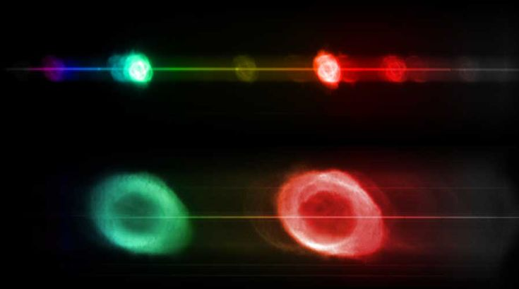 """Vincitore nella categoria """"Robotic Scope"""" (telescopio robotizzato): il britannico Robert Smith, con Iridis Questa composizione di due immagini spettroscopiche mette a confronto due ben note nebulose planetarie: NGC6543, la Nebulosa Occhio di Gatto (in alto) ed NGC6720, la Nebulosa Anello (in basso). In uno spettrografo la luce viene dispersa nei suoi colori costituenti. Se una sorgente emette luce a tutte le lunghezze d'onda (come la stella al centro di ogni nebulosa), allora in questa…"""