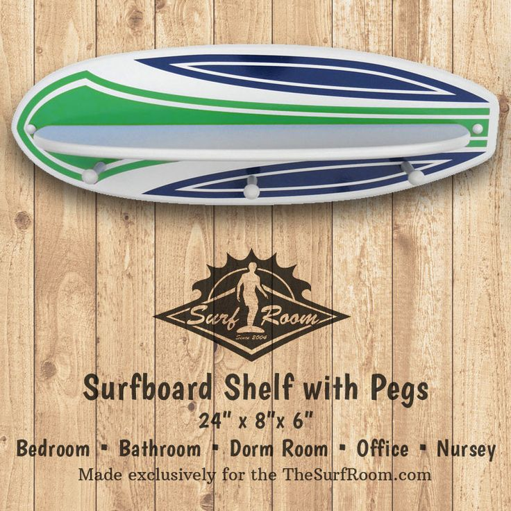 Pinstripe Surfboard Shelf with Pegs will add a wave of color and function to your walls. Our surfboard shelf is two products built into one, it's a Surfboard Shelf and Surfboard Rack. Surfboard shelf is the perfect size for accenting a surf theme bedroom or bathroom wall. Surfboard shelf includes a shelf to display your favorite...